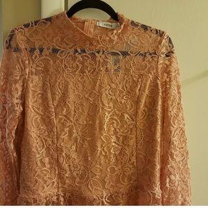210c709a JustFab Tops | Nwt Blush Lace Peplum See Through Back Top | Poshmark